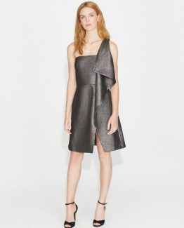 FLOUNCE DRAPE METALLIC JACQUARD DRESS f