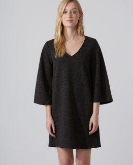 Wide-Sleeve V-Neck Dress Grey